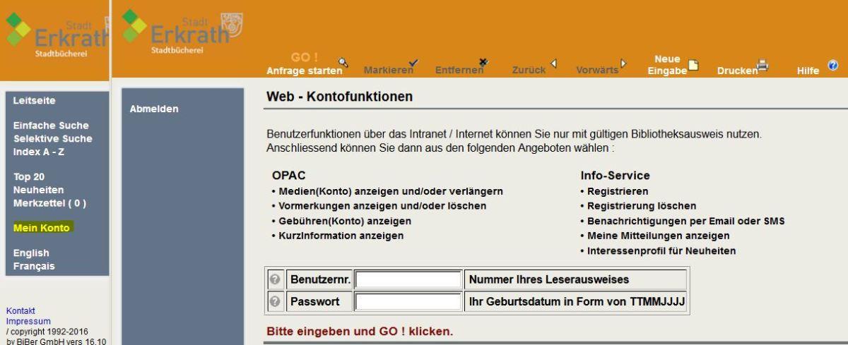 Online-Katalog: Mein Konto