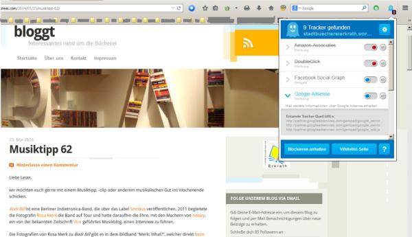 Screenshot: Unser Blog wird von vielen Datensammlern besucht. Mit Ghostery könnt ihr sehen, wer alles Daten abgreift und entscheiden, ob das für euch ok ist.