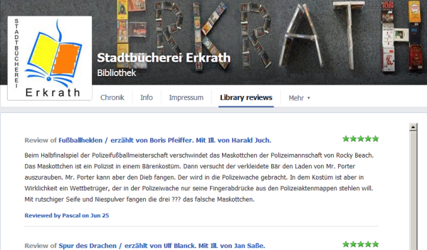 Library reviews auf unserer Facebookseite