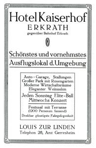 Werbung für den Kaiserhof aus dem Jahr 1914. Abbildung: Stadtarchiv Erkrath.