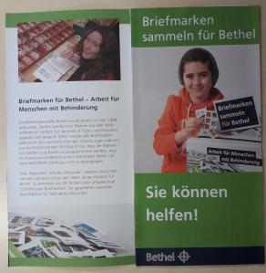 Briefmarken sammeln für Bethel. Flyer